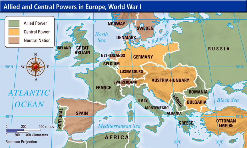 world war 1 map showing opposing countrys